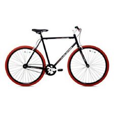 700C Fixie Men's Bike Kent Steel Frame Single Speed Black Color Red Rims NEW