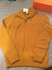 Hermes Mens Double Collar Knit Sweater L, Safran Double Zipper 100% Cashmere-NIB
