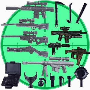 18x Custom Guns Sniper + Assault Rifles + Melee Weapons for Lego Mini Figures