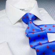 Blue & Red Italian Fleur-De-Lis Tie Hot Light Blue Floral Crest Mens 8cm Tie