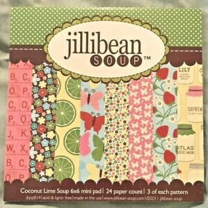 "Jillibean Soup Coconut Lime Paper Pad 6x6 6"" Strawberry Mason Jar 24 Sheets NEW"