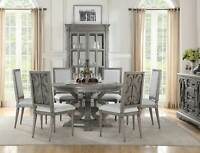 Old World Salvaged Gray Dining Room Furniture 7 piece Round Table Chairs Set CB5