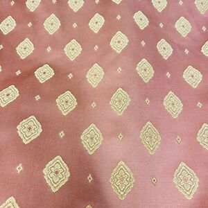 Rust Red & Gold Regency Floral Pattern Curtain Fabric Material 137cm wide BR244