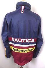 Nautica Competition Spellout Color Block Zip Sailing Windbreaker Jacket Hood M