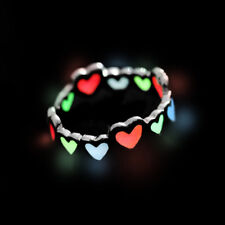 1Pcs Finger  Ring Colorful Love Heart Fluorescence Glow In The Dark Lover Ring