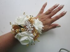 Ivory & Gold Butterfly Rose Wrist Corsage Prom Wedding Flowers Bride Mother