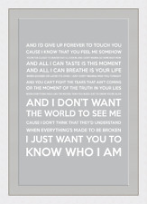 I Don't Want The World To See Me (Song Lyrics) - Grey - Framed & Mounted - A3 -