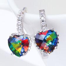 Women Fashion 925 Sterling Silver Rainbow Topaz Stud Hoop Earrings Jewelry New