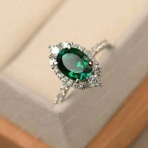 2.00Ct Green Oval Diamond Ring For Women's Real Silver With 14k White Gold Over