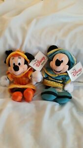 DISNEY STORE LONDON MICKEY AND MINNIE MOUSE BEAN BAG PLUSH NEW W/TAGS!