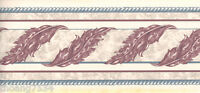 Acanthus Leaf Scroll Burgundy White Blue Rope Wallpaper Border