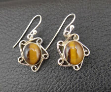 Dangle Earrings Handcrafted from India 001 Tiger Eye in Sterling Silver 925 Drop