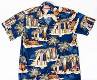 RJC Hawaiian Shirt Surfboards and Wood Panel Vans Mens Size M