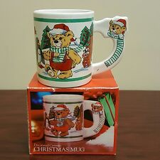 Decorated Ceramic Christmas Mug Teddy Bear Penguins in Snow