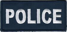 "2"" x 4 1/2"" Blue White Police Cops Patch VELCRO® BRAND Hook Fastener Compatible"