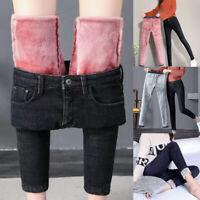 Women Winter Casual High Waist Leggings Fleece Warm Thermal Denim Jeans Slim