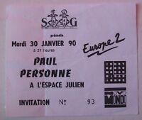 PAUL PERSONNE USED TICKET CONCERT INVITATION MARSEILLE 30 JANVIER 1990