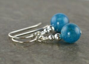 Ocean Blue Apatite Gemstone & Sterling Silver Drop Earrings + Gift Box