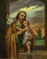 """Catholic print picture  -  ST. JOSEPH  -   8"""" x 10"""" ready to be framed"""