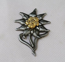 WWII German EM Edelweiss Mountain Metal Cap Badge Insignia-GM042