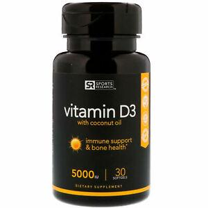 Sports Research Vitamin D3 with Coconut Oil, 5000 IU, 30 Softgels - Original