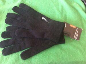 Adult L/XL Nike Swoosh Knit Gloves Unisex Mens Womens Black BNWT