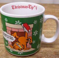 Garfield Christmas Tip 4 Coffee Mug Cup Jim Davis 1978 Vintage Cat Comic