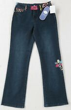NWT Diane Gilman DG2 Women's Stretch Dark Wash Boot Cut Embroidered Jeans - 2P