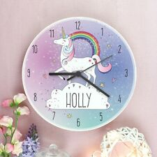 Childrens Personalised Magical Unicorn Wooden Bedroom Clock - Add Girls Name