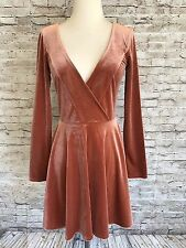 Kimchi Blue Velvet Dress Surplice Burnt Orange Medium Long Sleeve Skater Flare