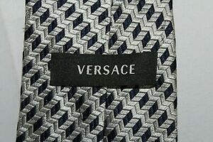 VERSACE Made in Italy Black & Gray All Silk Tie