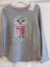 Nwt Girls Size 4 Long Sleeve Gray Sonoma Sparkle & Shine Owl Graphic T-Shirt