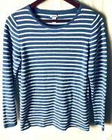 LL Bean Women's Large Sweater Blue White Striped Long Sleeve U Neck Soft Knit
