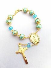 Bracelet - Rosary bracelet - St BENEDICT Car crucifix rosary- car auto rosary #1