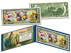 HAPPY EASTER * Easter Eggs & Easter Bunny  * Colorized $2 Bill U.S. Legal Tender