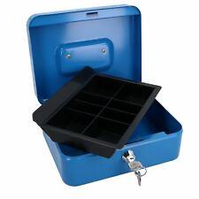 "More details for 8"" petty cash box money coin tin deposit security safe organiser 2 keys blue"