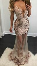 Sexy Gold Sequined Maxi Dress Low Front See Through Mesh to Hem Sequin Bottom