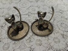 2 Vintage Interpur Silver Plated Cat Shaped Ring Holders