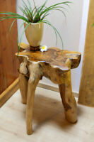 Side Table Wood Root Wood Teakwood Root Table Plant Stand Solid Natural