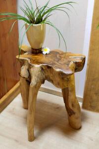 Beistelltisch Holz Wurzelholz Teakholz Wurzel Tisch Blumenhocker Massiv natur