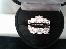 Ring Set Sz 5 + Gift Platinum & Ss Round Lcs Diamond Engagement