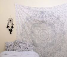 Ombre Indian Mandala Tapestry Wall Hanging Hippie Gypsy Bohemian Yoga Silver boh