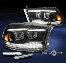 For 2010-2018 Dodge Ram LED/Turn Black Dual Projector Headlight +Bumper DRL Kit
