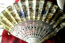 More details for antique french hand painted fan with inlaid / etched mother of pearl