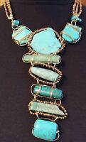 AMAZING W SIGNED TURQUOISE HOWLITE & AGATE STONE SLAB & BEADS STATEMENT NECKLACE