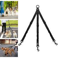 Nylon 3 Way Dog Coupler Leash Bungee Pet Triple Splitter Leads for Three Dogs