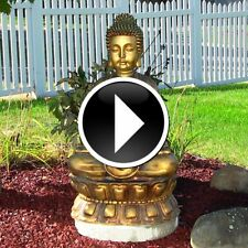 Zen Meditating Sitting Buddha Garden Floor Fountain Indoor Outdoor Water Feature