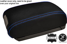 BLUE STITCHING REAL LEATHER ARMREST LID COVER FITS HYUNDAI TUCSON 2004-2012