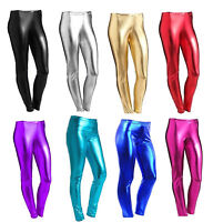 NEW GIRLS METALLIC LEGGINGS SHINY&WET LOOK FOR KIDS CHILDREN COSTUME DISCO PARTY