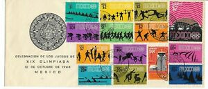 1968 Olympics - Mexico - FDC with the Official Stamps of the Games - Opening Day